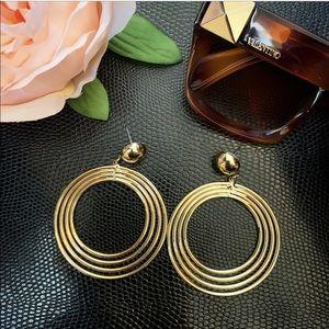 Gold Hoop Statement Earrings